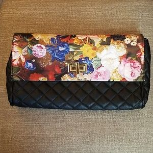 Madden girl black and floral pleather purse
